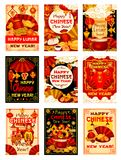 Tarjetas de felicitación tradicionales chinas del vector del Año Nuevo Fotos de archivo