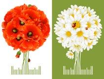 Tarjetas de felicitación florales Imagen de archivo libre de regalías