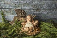 Tarjetas de Jesus Christmas del bebé Foto de archivo libre de regalías