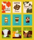Tarjetas de la cafetería, ejemplo del vector de las banderas La taza de papel para se lleva la bebida Granos de café superiores C ilustración del vector