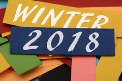 Tarjetas de la decoración de la Feliz Año Nuevo del invierno 2018 Fotos de archivo