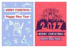 Tarjetas de la Feliz Navidad creativa artística dos y del Año Nuevo Mano drenada Diseñe para el cartel, tarjeta, invitación, cart Imagen de archivo libre de regalías
