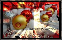 Tarjetas de la Feliz Navidad y de una Feliz Año Nuevo Fotografía de archivo libre de regalías