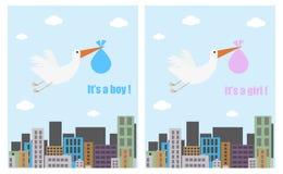 Tarjetas de la fiesta de bienvenida al bebé Foto de archivo libre de regalías