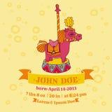 Tarjetas de la fiesta de bienvenida al bebé - tema del caballo Fotos de archivo libres de regalías
