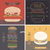Tarjetas de la hamburguesa - estilo dibujado mano Fotos de archivo libres de regalías