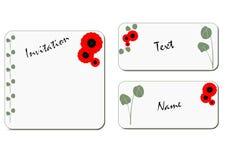 Tarjetas de la invitación Foto de archivo libre de regalías