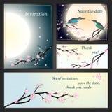 Tarjetas de la invitación con la flor de cerezo estilizada. Fotografía de archivo libre de regalías
