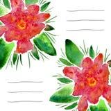 Tarjetas de la invitación con las flores florecientes de la acuarela El uso para la cubierta del cuaderno, folleto, aviador, invi Foto de archivo libre de regalías