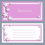 Tarjetas de la invitación con un flor Sakura para su diseño Fotografía de archivo