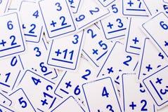 Tarjetas de la matemáticas de la adición (azules) Imágenes de archivo libres de regalías