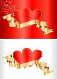 Tarjetas de la tarjeta del día de San Valentín con la cinta Foto de archivo