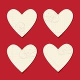 Tarjetas de la tarjeta del día de San Valentín de la hoja del papel Imagen de archivo