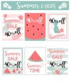 Tarjetas de la venta del verano/banderas de los fondos Imagenes de archivo