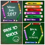 4 tarjetas de las invitaciones de las banderas de nuevo a escuela Foto de archivo libre de regalías