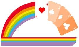 Tarjetas de los as en el arco iris colorido aislado Foto de archivo libre de regalías