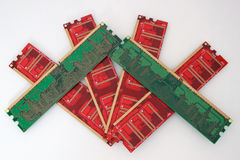 Tarjetas de memoria rojas y verdes para de computadora personal Foto de archivo libre de regalías