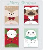 Tarjetas de Navidad animales fijadas Fotografía de archivo libre de regalías