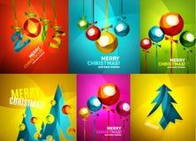 Tarjetas de Navidad brillantes fijadas Imagen de archivo