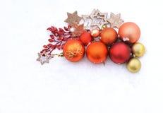 Tarjetas de Navidad con las bolas Imagen de archivo libre de regalías