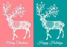 Tarjetas de Navidad con los ciervos, sistema del vector Fotografía de archivo libre de regalías