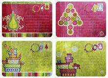 Tarjetas de Navidad de la diversión de la vendimia Foto de archivo libre de regalías