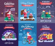 Tarjetas de Navidad fijadas con Santa Delivering ilustración del vector