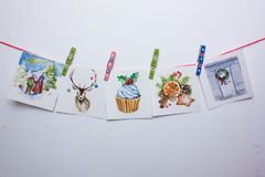 Tarjetas de Navidad de la acuarela en un fondo blanco Fotografía de archivo