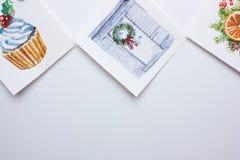 Tarjetas de Navidad de la acuarela en un fondo blanco Imagen de archivo