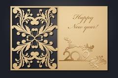 Tarjetas de Navidad de la plantilla para el corte del laser A través de la imagen del Año Nuevo de la silueta Ilustración del vec libre illustration
