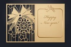 Tarjetas de Navidad de la plantilla para el corte del laser A través de la imagen del Año Nuevo de la silueta Ilustración del vec stock de ilustración