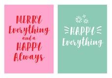 2 tarjetas de Navidad modernas, sistema del vector foto de archivo libre de regalías