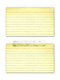 Tarjetas de índice amarilleadas viejas Foto de archivo libre de regalías