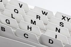 Tarjetas de índice como almacenaje para los clientes Fotografía de archivo