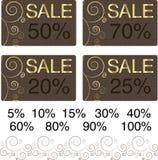 Tarjetas de oro de la venta del chocolate Foto de archivo