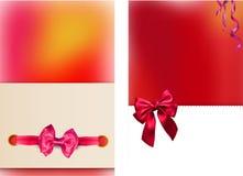 Tarjetas de papel brillantes con el lazo de satén hermoso stock de ilustración