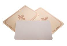 Tarjetas de papel con la muestra   Imagenes de archivo
