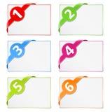 Tarjetas de papel con las cintas de la esquina stock de ilustración