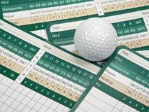 Tarjetas de puntuación del golf Fotos de archivo