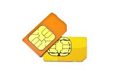 Tarjetas de Sim para el teléfono móvil Imagen de archivo libre de regalías