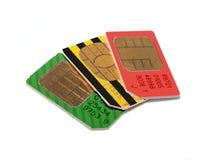Tarjetas de SIM para los teléfonos celulares Fotos de archivo