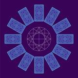 Tarjetas de Tarot Lado trasero Sread del círculo del zodiaco Fotos de archivo libres de regalías