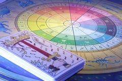 Tarjetas de Tarot y rueda del zodiaco imagenes de archivo