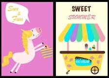 Tarjetas de verano lindas con la parte 2 del unicornio - ejemplo del vector, EPS stock de ilustración
