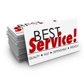 Tarjetas de visita amistosas rápidas confiables de la mejor calidad del servicio ilustración del vector