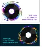 Tarjetas de visita con los discos de vinilo Foto de archivo libre de regalías