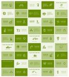 Tarjetas de visita con los iconos de la ecología para su diseño Imagen de archivo