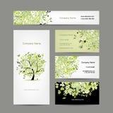 Tarjetas de visita diseño, árbol de la primavera floral Fotos de archivo libres de regalías