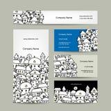 Tarjetas de visita diseño, bosquejo del paisaje urbano del invierno Fotografía de archivo
