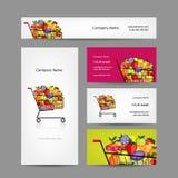 Tarjetas de visita diseño, carretilla con las frutas Fotografía de archivo libre de regalías